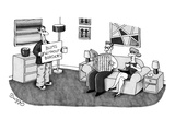 Bum holding a sign that says, 'Bums Without Borders,' standing in couple's… - New Yorker Cartoon Premium Giclee Print by J.C. Duffy