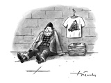 A homeless man is selling T-shirts that have a picture of himself, as home… - New Yorker Cartoon Premium Giclee Print by Mike Twohy