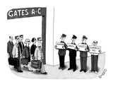Man holding sign that says 'surprise me,' standing next to three limo driv… - New Yorker Cartoon Premium Giclee Print by J.C. Duffy