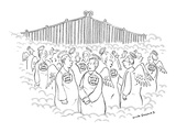 People, mingling in Heaven, wearing buttons that read, 'Hi! I was Bob,'  '… - New Yorker Cartoon Premium Giclee Print by Nick Downes