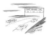 Three lanes of highway traffic:  Beach sublets;  Mountain Time Shares;  La… - New Yorker Cartoon Premium Giclee Print by Peter Porges