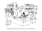 """The judicial rulings are over here. That section is all lawyer jokes."" - New Yorker Cartoon Premium Giclee Print by Sidney Harris"