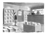 Bookstore clerk, responsible for choosing the staff picks, appears somewha… - New Yorker Cartoon Premium Giclee Print by Harry Bliss