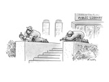 The lion statues, Patience and Fortitude, in front of the New York City li… - New Yorker Cartoon Premium Giclee Print by Mike Twohy