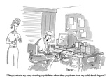 Man sitting at a computer wearing earphones, talking to his wife. - Cartoon Regular Giclee Print by Jack Ziegler