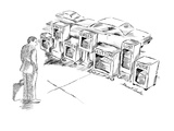 "Businessman looking at  street vending boxes for newspapers marked ""Sloth,… - New Yorker Cartoon Regular Giclee Print by Stuart Leeds"