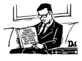 A man in a suit reads a book with the title: Sales Secrets of the Clerk Wh… - New Yorker Cartoon Premium Giclee Print by Drew Dernavich