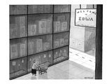 "Huge store has state line and sign that says ""Welcome to Iowa."" - New Yorker Cartoon Premium Giclee Print by Jason Patterson"