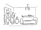 """""""He's been up a week now, and there's nothin' we can do about it."""" - New Yorker Cartoon Premium Giclee Print by George Price"""