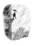 Old man attempts suicide by stepping off ledge of building as someone insi… - New Yorker Cartoon Premium Giclee Print by Robert Weber