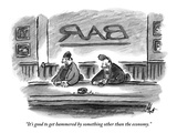 &quot;It&#39;s good to get hammered by something other than the economy.&quot; - New Yorker Cartoon Premium Giclee Print by Frank Cotham