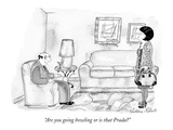 """Are you going bowling or is that Prada"" - New Yorker Cartoon Premium Giclee Print by Victoria Roberts"
