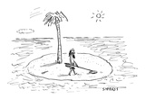 Castaway on Island with metal detector. - New Yorker Cartoon Giclee Print by David Sipress
