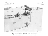 """Hey, come over here—that little Dutch kid is back."" - New Yorker Cartoon Premium Giclee Print by Zachary Kanin"