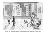 """While you were out, the staff whittled away your desk into a totem pole."" - New Yorker Cartoon Premium Giclee Print by C. Covert Darbyshire"