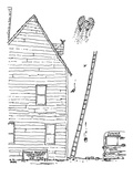 House painter ascends into the sky flapping his arms. - New Yorker Cartoon Premium Giclee Print by George Booth