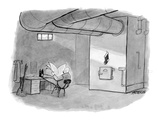 Janitor in a basement with a Christmas stocking hanging on the furnace. - New Yorker Cartoon Premium Giclee Print by Jason Patterson