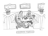 Man and woman embrace under restaurant table while holding their disguised… - New Yorker Cartoon Premium Giclee Print by Zachary Kanin