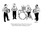 """To be perfectly honest, Pete, I'm not sure it's Clear Channel that's hold…"" - New Yorker Cartoon Premium Giclee Print by Alex Gregory"