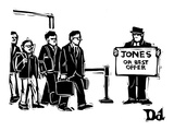 Arriving airline passengers find limo driver with a sign that reads, 'Jone… - New Yorker Cartoon Premium Giclee Print by Drew Dernavich