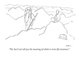 """No, but I can tell you the meaning of whole or term life insurance."" - New Yorker Cartoon Premium Giclee Print by Michael Shaw"