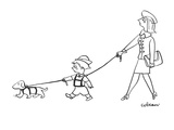 Mother has son on leash who has dog on leash. - New Yorker Cartoon Giclee Print by Sam Cobean