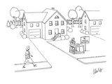 Boy sitting at front yard stand with sign that reads, 'Family Secrets $1.00.' - New Yorker Cartoon Premium Giclee Print by Eric Lewis
