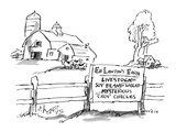 Sign on farm fence reads, 'Eb Lawton's Farm Livestock Soy Beans, Wheat, My… - New Yorker Cartoon Premium Giclee Print by Sidney Harris