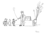 "Vendor selling ""Important Balloons"" for thirty dollars to children in suits. - New Yorker Cartoon Premium Giclee Print by Zachary Kanin"