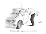 """To be frank, officer, my parents never set boundaries."" - New Yorker Cartoon Giclee Print by Julia Suits"