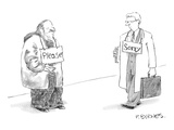 "Begging man has ""Please"" sign around his neck.  Passerby has ""Sorry"" sign … - New Yorker Cartoon Premium Giclee Print by Pat Byrnes"