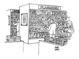 "Bookstore with ""plagiarism"" section. - New Yorker Cartoon Premium Giclee Print by Joseph Farris"