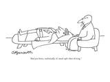 """And you know, realistically, it's much safer than driving."" - New Yorker Cartoon Premium Giclee Print by Charles Barsotti"