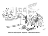 """When did we switch from magazines to musical instruments"" - New Yorker Cartoon Premium Giclee Print by Bob Eckstein"