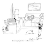 """I rearrange the furniture—he doesn't notice."" - New Yorker Cartoon Giclee Print by Victoria Roberts"