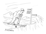 Man Skiing - Cartoon Giclee Print by Mort Gerberg