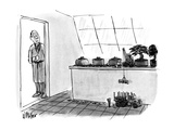 Miniature people are lowering a bonsai trunk into a miniature truck, while… - New Yorker Cartoon Premium Giclee Print by Warren Miller