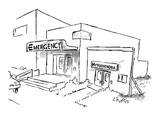 "Sign for hospital entrance reads: ""Emergency"", while next to it, a facade … - New Yorker Cartoon Premium Giclee Print by Sidney Harris"