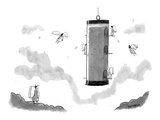 Angels fly around a bird-feeder. - New Yorker Cartoon Premium Giclee Print by Jason Patterson