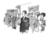 Man with name card saying 'Eva's'. - New Yorker Cartoon Premium Giclee Print by Kenneth Mahood