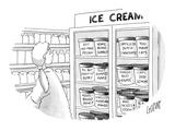 Woman at ice cream freezer looks at various flavors like, 'Got No Man Peca… - New Yorker Cartoon Premium Giclee Print by Glen Le Lievre