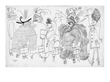 Women dressed in various fanciful outfits. - New Yorker Cartoon Impresso gicle premium por Saul Steinberg