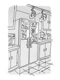 Refrigerator, covered with kids' drawings, has special track lighting. - New Yorker Cartoon Premium Giclee Print by Tom Hachtman