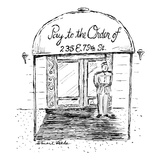 "Doorman stands beneath apartment building's canopy which reads: ""Pay to th…"" - New Yorker Cartoon Regular Giclee Print by Stuart Leeds"
