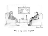 """I'm at my nastiest tonight."" - New Yorker Cartoon Giclee Print by Victoria Roberts"