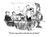 """The free-range chicken with little shoes by Reebok."" - New Yorker Cartoon Premium Giclee Print by Robert Weber"