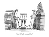 """I just feel safer in one of these."" - New Yorker Cartoon Premium Giclee Print by Jason Patterson"