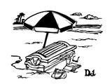 Man in a tanning machine on the beach. - New Yorker Cartoon Premium Giclee Print by Drew Dernavich