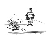 "Man without pants standing on sidewalk with sign that says, ""HELP!"" as a d… - New Yorker Cartoon Premium Giclee Print by George Booth"