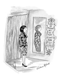 Woman stands before mirror.   Sign next to mirror reads: 'People in the mi… - New Yorker Cartoon Premium Giclee Print by Victoria Roberts